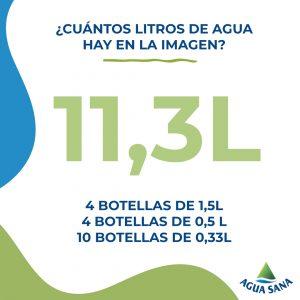 ¿Cuántos litros de agua hay? Solución