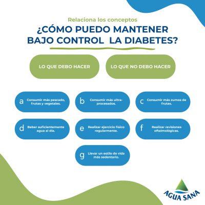 Prevenir la diabetes | Relaciona los conceptos
