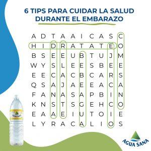 Juega con Agua Sana | Solución sopa de letras sobre cuidados en el embarazo