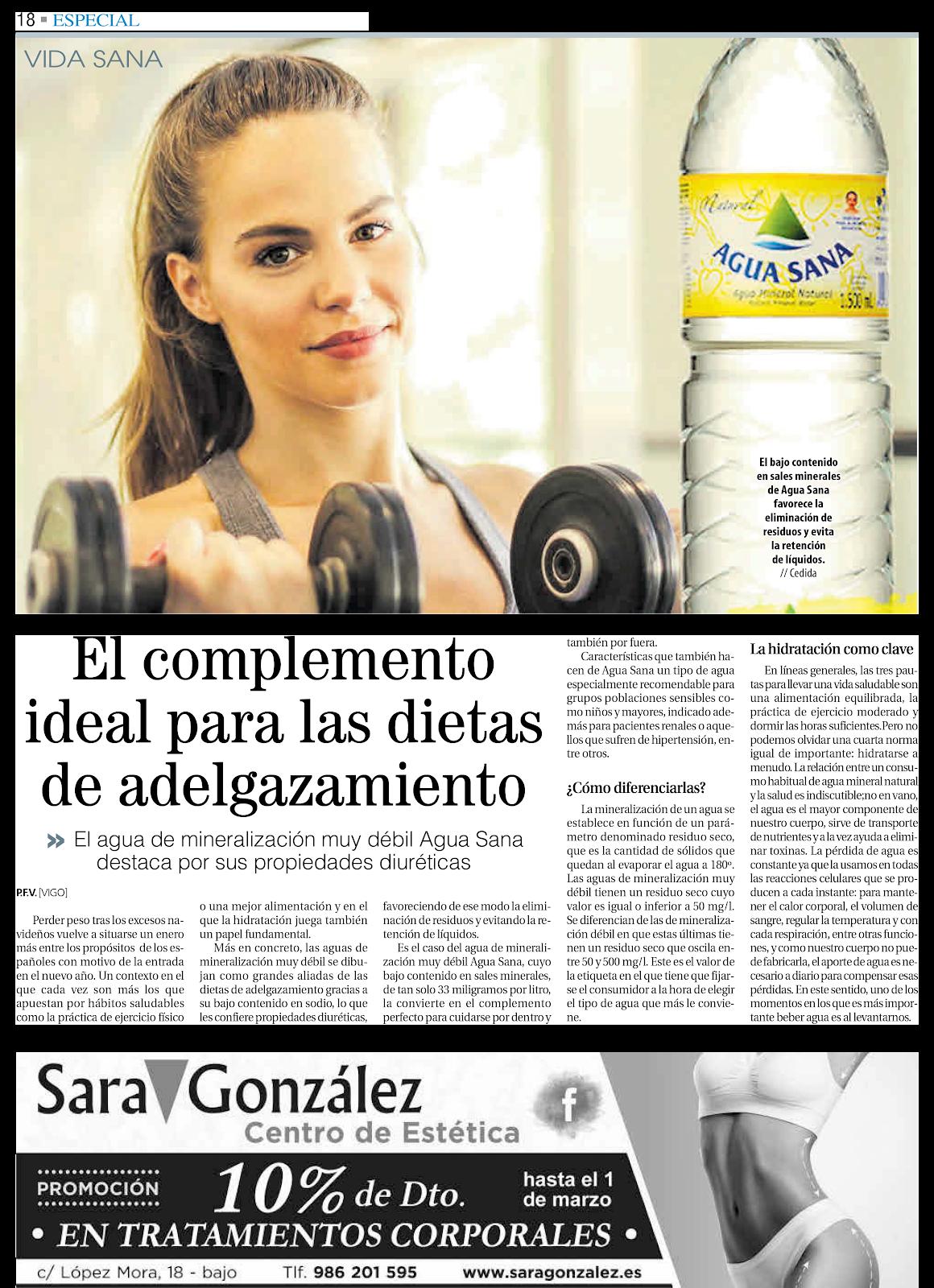 Especial vida Sana en el Faro de Vigo: beber Agua Sana te ayuda adelgazar