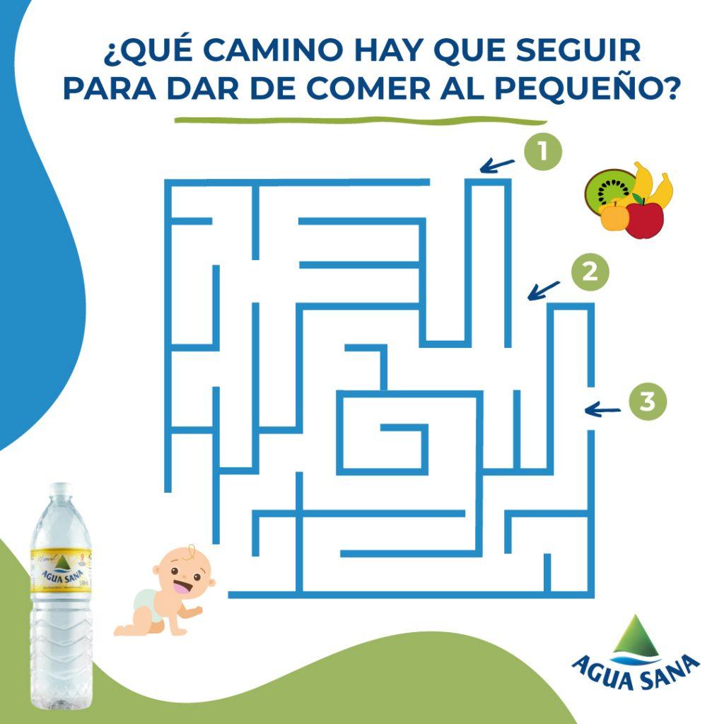 Descubre cuál es el camino que lleva la fruta al bebé.