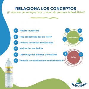 Solución al juego de Agua Sana sobre la flexibilidad.