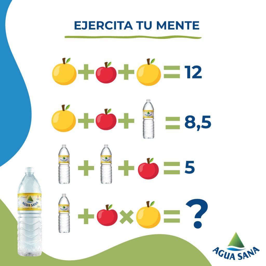 Juega con Agua Sana y resuelve la ecuación de recetas dulces y sanas