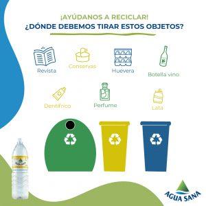 Solución al juego de reciclaje de Agua Sana