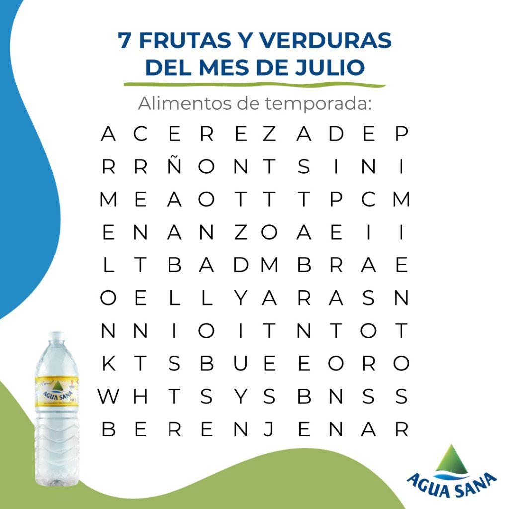 Sopa de letras Agua Sana: frutas de julio