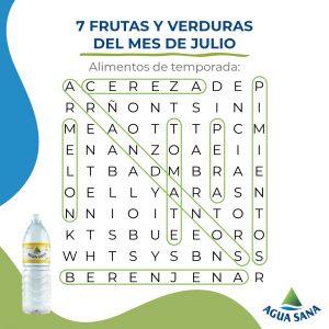 Estas son las 7 frutas y verduras ocultas en la sopa de letras de Agua Sana
