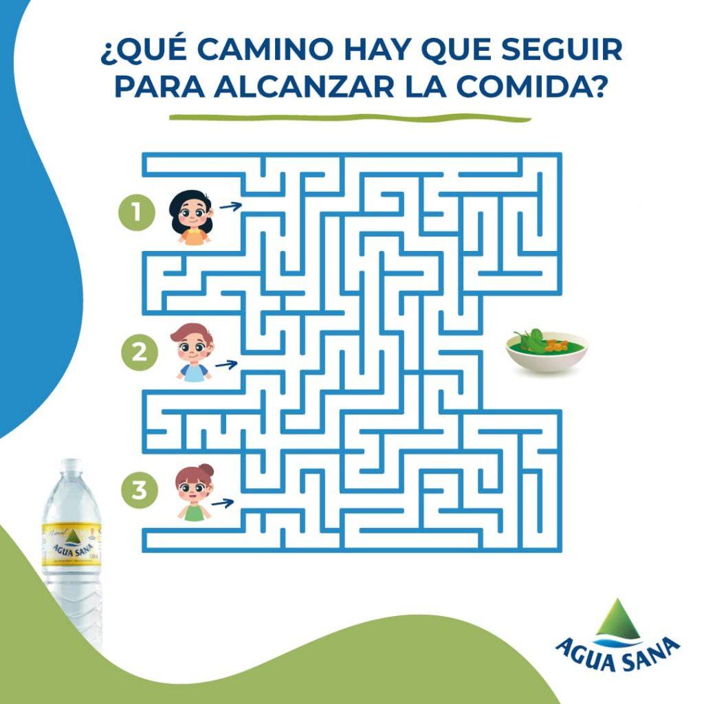 El juego del Laberinto de Agua Sana para encontrar el menú infantil saludable