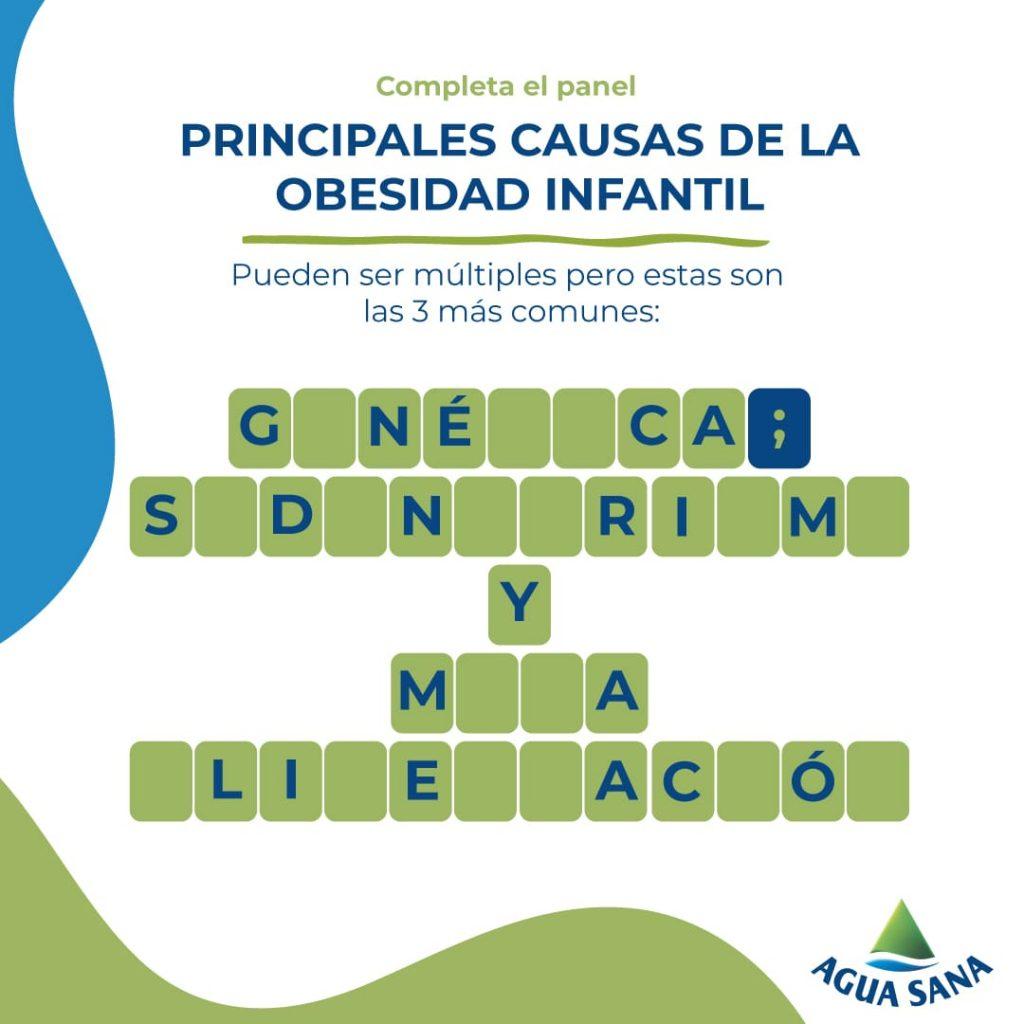 Conoce las 3 causas principales de la obesidad infantil resolviendo este panel de Agua Sana